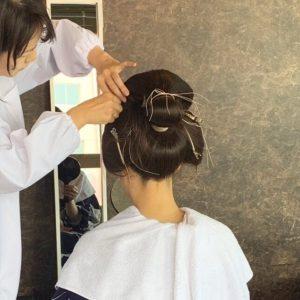花嫁地髪結い上げ自髪で文金高島田、出張ヘアメイク着付けまで 和婚をコーディネートいたします